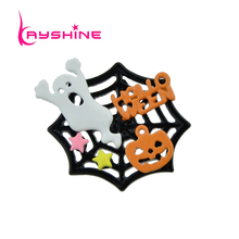 Kayshine Cute Lovely Style Halloween Jewelry Black Color With Colorful Ghost Star Pumpkin Spider Web Shape Brooch For Women(China)
