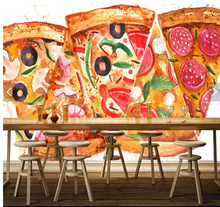 Custom photo wallpaper, pizza murals for the living room hotel restaurant coffee shop background wall waterproof wallpaper(China)