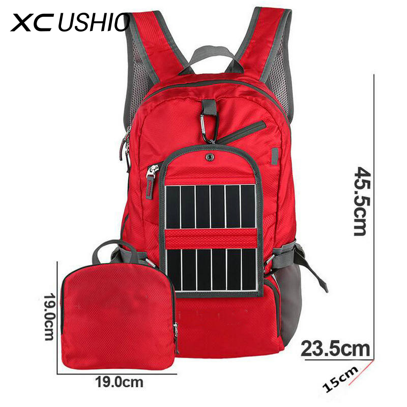New 3.25W 6V Outdoor Sport Solar Backpack Foldable Light Weight Solar Panel Charger Bag for Traveling Hiking With Power Bank(China)