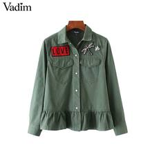 Vadim women army green ruffles coat letters dragonfly diamond patch long sleeve jacket coats pockets outerwear tops CT1516(China)