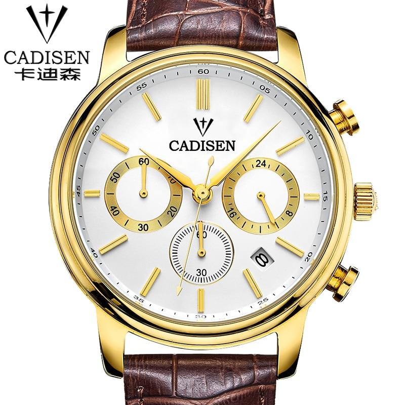 2017 cadisen Brand Mens Quartz Watch Men Genuine Leather Fashion Casual Watches Relojes Date Relogio Masculino watches gift<br><br>Aliexpress