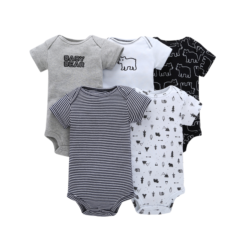 5pcs/lot summer baby set cotton short sleeve o-neck animal bear print 6-24 m Infant baby boy girl rompers bebes newborn clothes