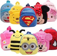 High Quality Hello Kitty/Minnie/Superman/Spider man/monster kid's Plush Backpack Cartoon Toys Girls&boys bags