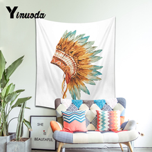 Yinuoda Watercolor Dreamcatcher Skullcandy Tapestry Feathers Pink Wall Hanging Boho Art Carpet Decorative Tapestry(China)