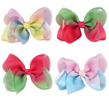 4Pcs/lot Girls Grosgrain Rainbows Hair Bows With Hair Clips Kids Boutique Hair Ribbon Bows For Children Gifts Accessories 4Inch