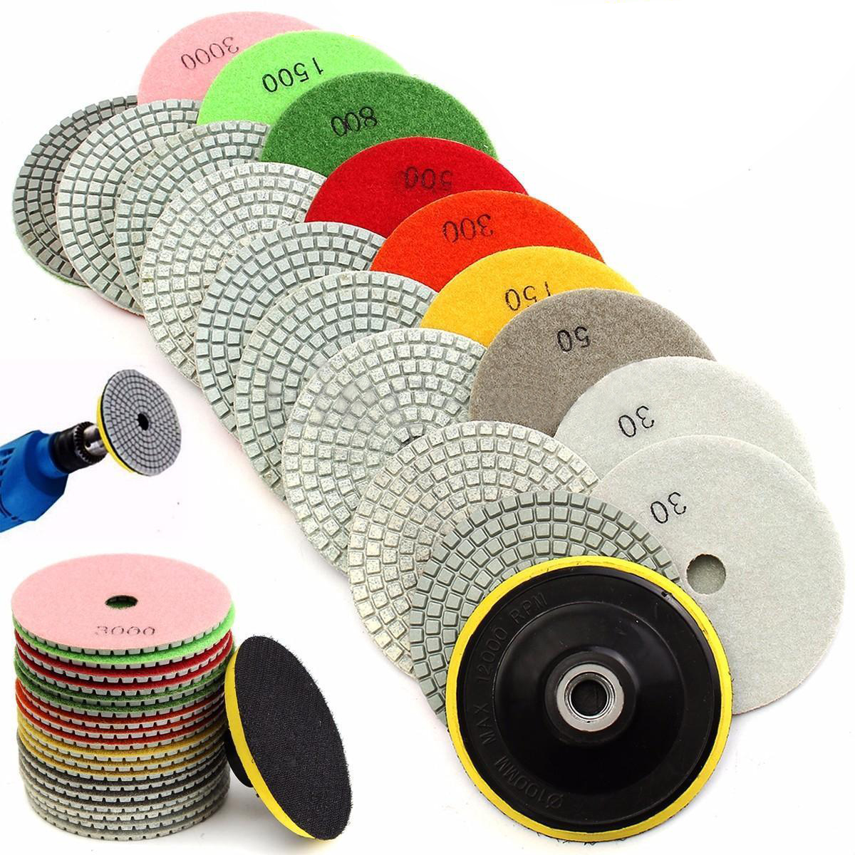 19pcs 4inch Wet/Dry Diamond Polishing Pads For Granite Marble Concrete Stone Polishing Tools<br>