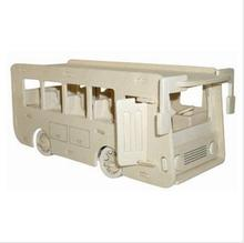 BOHS Scale Wood Assembling Model Toy Diy Miniature 3D Jigsaw Puzzle Single Decker Bus(China)