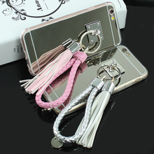 Luxury Mirror Phone Cases Finger Ring Tassel Case For Apple iPhone 6 6s 6 Plus Metal Circle Soft Silicone Back Covers Phone Bags