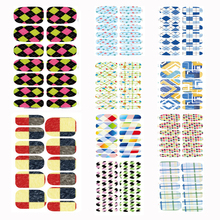 10 pcs Set manicure nail stickers Tools Patch Full Cover Color Plaid Para Nail Art Water Transfer Foils Stickers for nail(China)