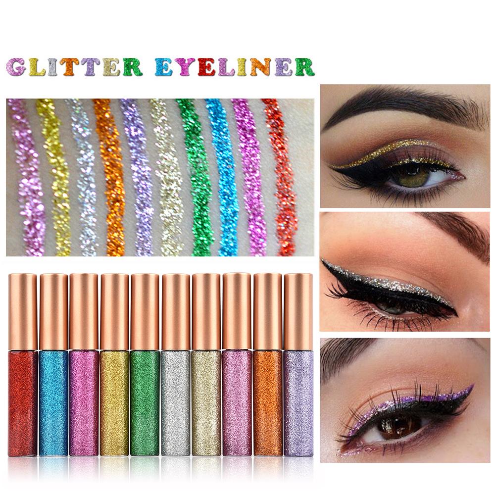 HANDAIYAN 10pcs Eyeliner Glitter Set Eye Waterproof Makeup Liner Shimmer Pigment Silver Gold Metallic Liquid Maquiagem Eyeliner 1