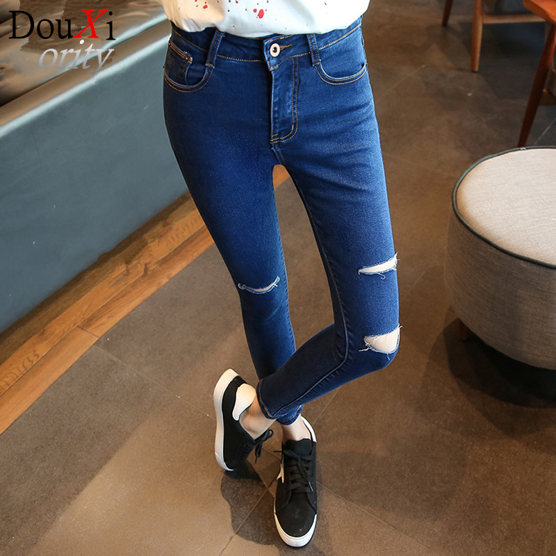 2017 Spring Fashion slimming hole women jeans High Waist  Skinny  Ripped Pencil Pants Blue jeans size 26-31 Одежда и ак�е��уары<br><br><br>Aliexpress
