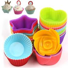 6 Pcs Cakes Model Flower Star Round Heart shape Baking Cup Mold Silicone Cake Jelly Handmade Soap DIY Tools FP8(China)