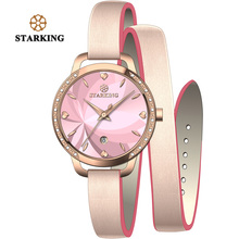STARKING Fashion Elegant Quartz Women Leather Bracelet Watch With 30M Water Resistant Auto Date Clover Design Dress Women Watch(China)