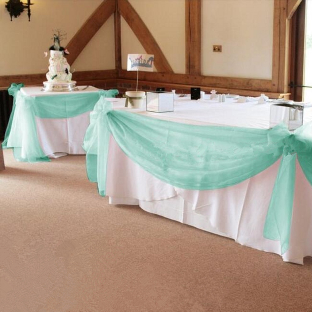 Mint Green 1000cm 135cm Organza Swag Fabric Wedding For Event Party Decoration Table Skirt