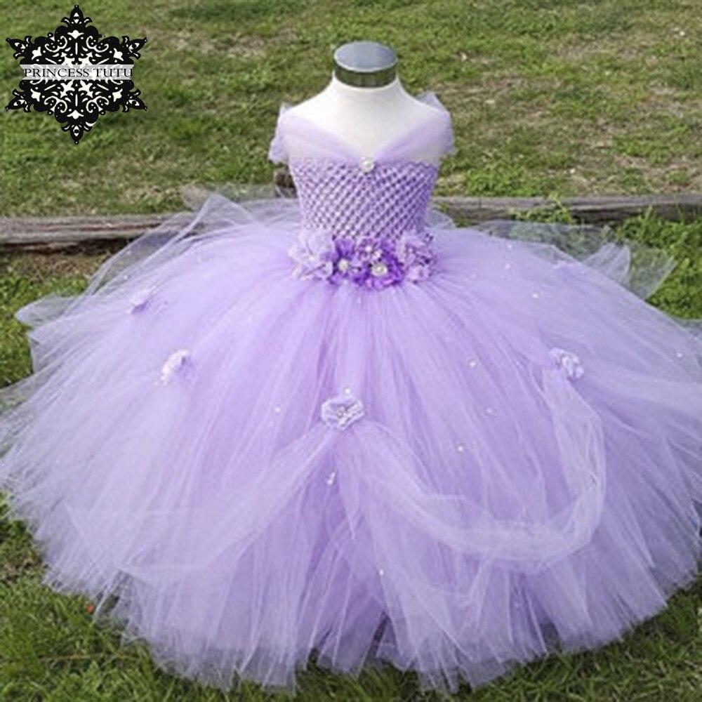 Princess Tutu Tulle Flower Girl Dress Kids Party Pageant Bridesmaid Wedding Tutu Dress Lavender Gown Dress Robe Enfant<br>