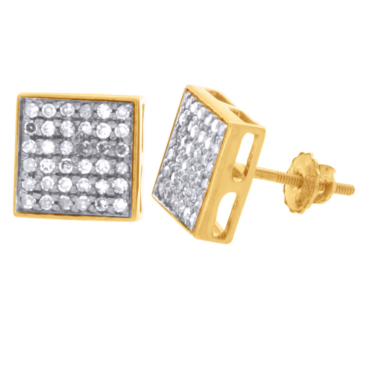 18K Yellow Gold Over Sterling Silver 0.55 ct Brown Diamond Stud Earrings
