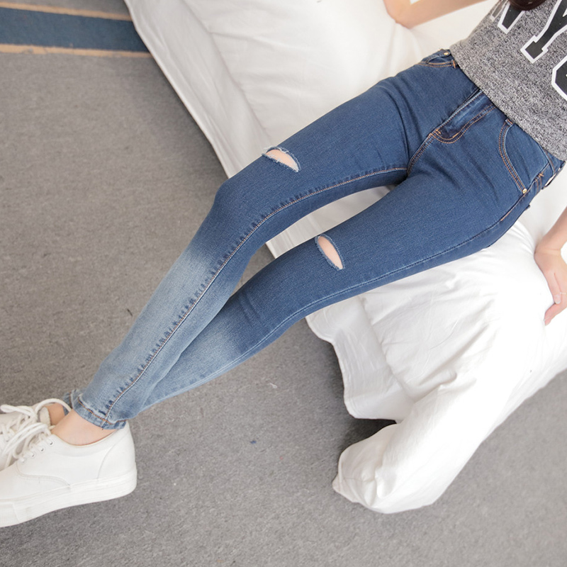 Elastic Women Sexy Hole Denim Skinny Pants High Waist Cut-Out Ripped Jeans Stretch Pants Blue Jeans Harem Trousers Pencil PantsОдежда и ак�е��уары<br><br><br>Aliexpress