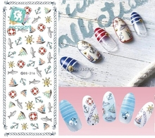 Rocooart DS216 DIY Nail Water Transfer Nails Art Sticker Cartoon Fish Anchor Ocean Nail Wrap Sticker Watermark Fingernails Decal(China)