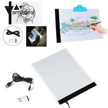 amzdeal Ultra Thin For LED Light A4 Copy Board Super Thin Artcraft Drawing Table Pad  Copying Sketch Tracing Display US Plug