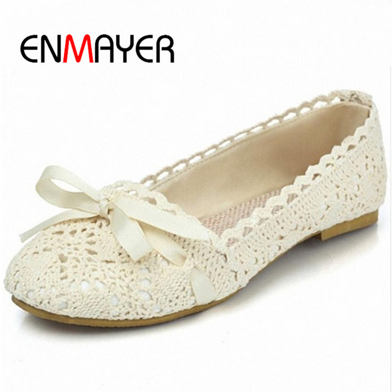 ENMAYER New Arrivals Fashion Flats Shoes Casual Shoes Lady Sexy Dress Women Footwear Hot Sale Large size 34-43 Round Toe Shoes<br><br>Aliexpress