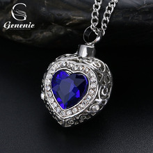 Silver Urn Cremation Heart Blue Pendant Ash Holder Mini Long Memorial Necklace Jewelry New(China)