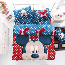 Red Mickey and Minnie mouse full size kids cartoon bedding set Cotton Bed sheet Linens Duvet/quilt cover sets
