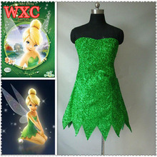 Princess Tinkerbell Dress Sexy Fancy Movie Cosplay Green Fairy Pixie Adult Dresses Summer Anime Tinker Bell Dress Vestidos WXC