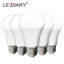 LEDIARY 5PCS High Brightness LED Bulb No Flicker A60 E27 220-240V CE Full Watt 12W A19 Global Light IC Lampada White PC Body