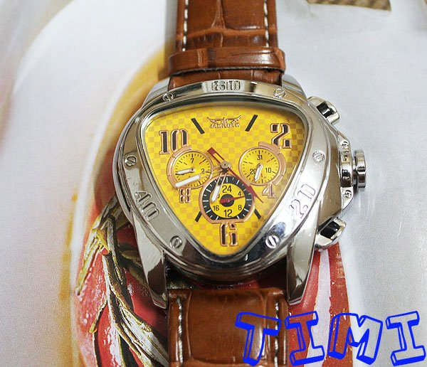 style Unique Yellow Dial Mens Auto Mechanical Watch Grown Band<br><br>Aliexpress