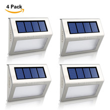 (4/Pack) Solar Power LEDs Outdoor Waterproof Garden Street Yard Path Stairs Lamp Energy Saving LED Solar Wall Lamp Wholesale