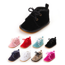 White Branded Fleece Winter Baby Shoes Infant Plush Warm Boots Hard Sole Toddler Girl Boy Wool Crib Snow Booties Walker Sneakers(China)