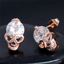 Free Shipping! Charming 2pcs=1pair gold Color 100% Cubic Zirconia CZ Brilliant  Skull Heads Woman's Stud Earring Piercing