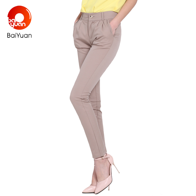 Baiyuan 2017 Khaki Women Capris Harem Pants Comfortable Breathable Thin Solid Mid Waist Trousers Skinny Pants 3 Colors 4W01H160(China)