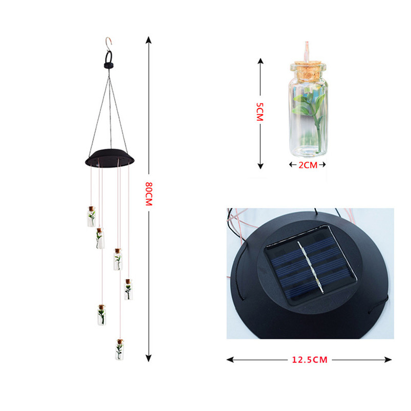 Solar Color-Changing Wind Chime Light LED Garden Hanging Spinner Lamp Color Changing Wind Chime Light Luces 40JUN253