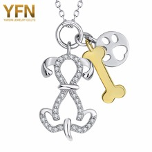 YFN Geniuses 925 Sterling Silver Bone Print Paw Dog Pendants Necklaces Animal Fashion Statement Necklace Jewelry For Men