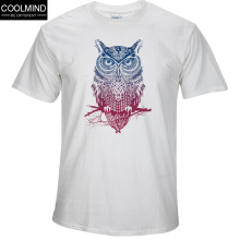 fashion short sleeve owl printed men tshirt cool funny men's tee shirts tops men T-shirt cotton casual mens t shirts T01(China)