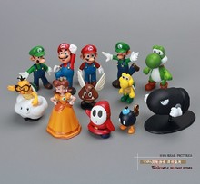 Super Mario Bros 12pcs Cute Display Figure Toy Full Set Super Mario Figures Super Mario PVC figures doll toys DHL(China)