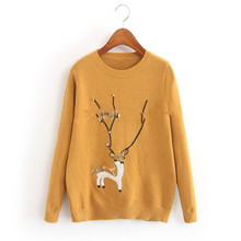 Beading Especially Women's Winter Sweater Cartoon Deer Printed Knitted Pullovers Female Autumn Knitwear Ladies Christmas Sweater