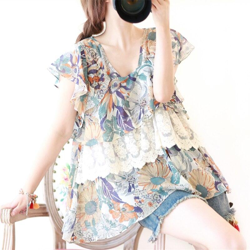 Neploe Ruffles Chiffon Shirt Short Sleeve Bow Tie Lace-up Blouse Japanese Sweet Princess Blusas Woman Sexy Strapless Tops 35990 Choice Materials Women's Clothing