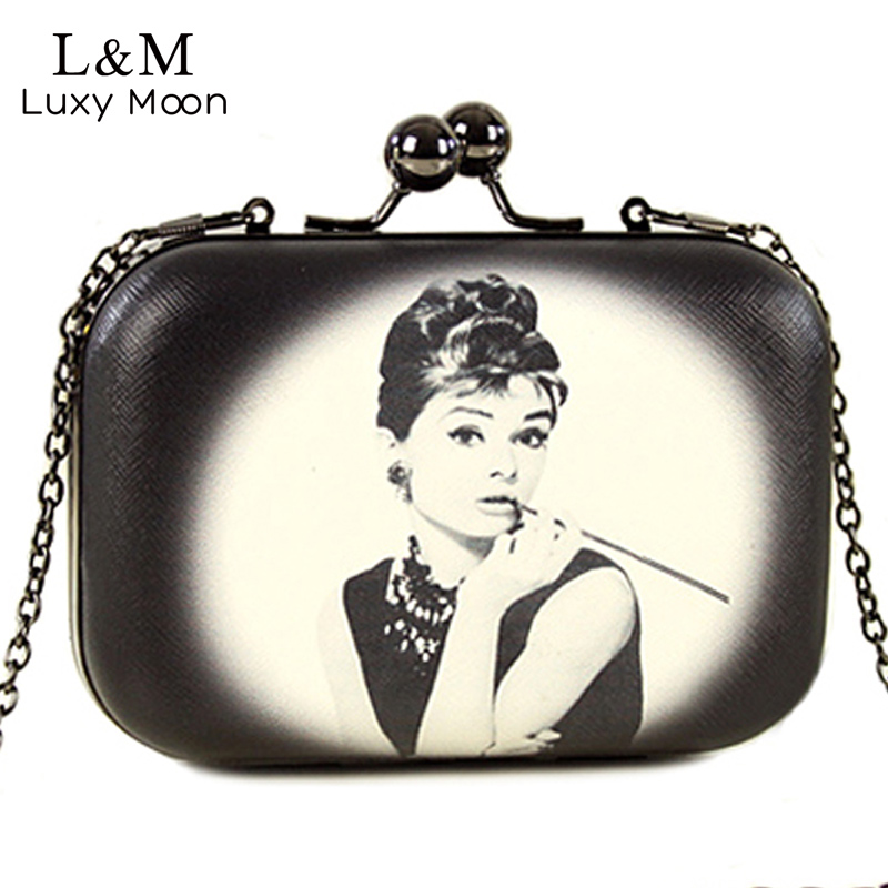 Vintage Women Evening Clutch Bags Flowers Audrey Hepburn Cartoon Printing Hand Bag Mini Leather Clip Brand Party Purse XA267H(China)