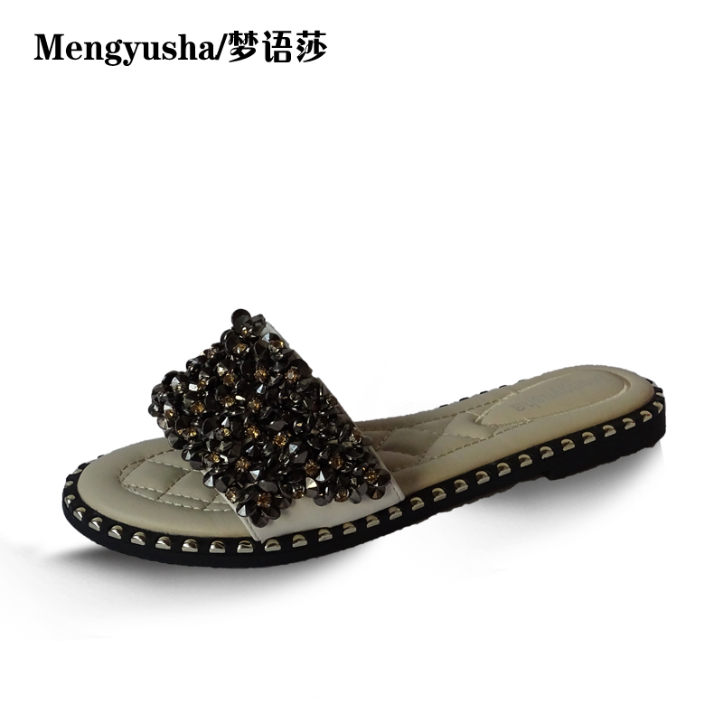 MengyushaWomen Sandals Flips Flops 2018 Summer Style Shoes Woman Wedges Sandals Fashion Rivet Crystal  Shoes<br>