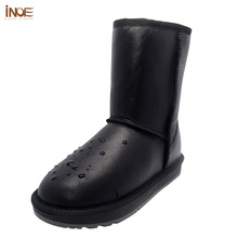 INOE Classic mid-calf real men sheepskin leather sheep fur lined winter snow boots for man winter shoes waterproof black grey(China)