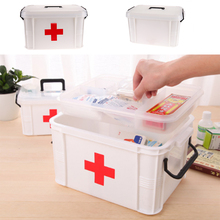 Plastic 2 Layers First Aid Kit Box Large Family Home Medicine Chest Cabinet Health Care Drug Storage Box Chest of Drawers