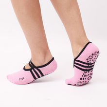NEW Women round Yoga Socks Ladies Anti-slip Dancing socks sports Cotton Socks With Ribbons GYM fitness toes socks Elastic band