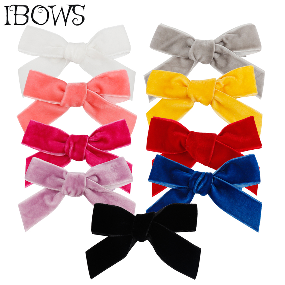 3'' Hair Accessories Kids Velvet Hair Bows For Girls Solid Knot Hair Clips Baby Mini Hairpins Handmade Barrettes Headwear