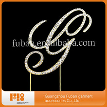 free shipping,Wedding Crystal Rhinestone Renaissance Monogram Bling Cake Topper Initial Letter(China)