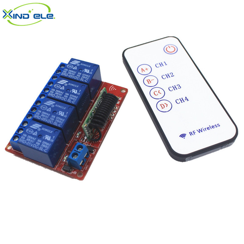XIND ELE 4 Way 433mhz 5V DC Remote Control Switch Self-lock Relay Module Kit For Light and Door #RF05-4FM-433+PM5#<br><br>Aliexpress