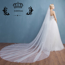 2017 New Design Elegant One-Layer 3M Long Tulle Crystal White Ivory Cathedral Wedding Veils with Comb Wedding Accessories