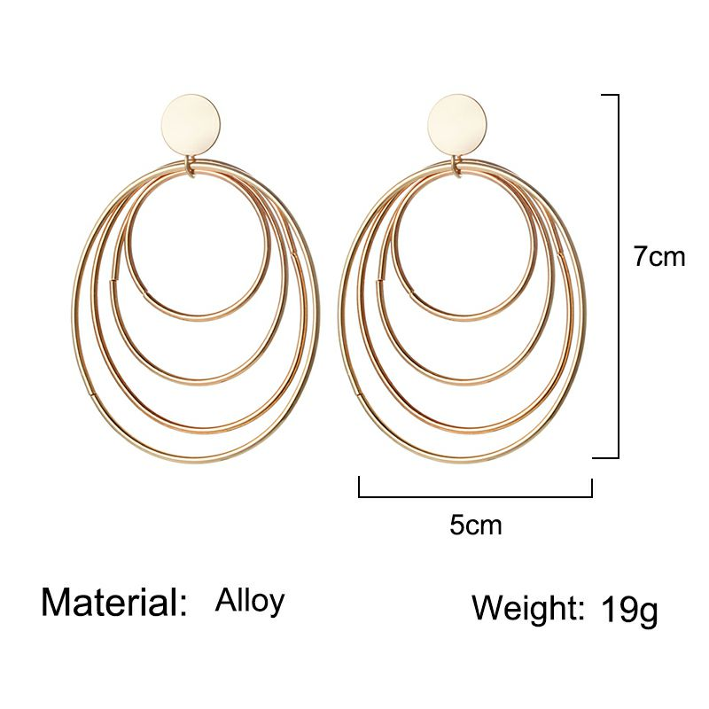 European and American style Earrings for Woman 19 Big Four Layers Ring Earrings Gold color Gifts for Friends Confidante 1