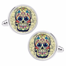 MFYS Skull Head Cufflinks Fashion Handmade Cufflinks Brand Cufflinks French shirt Wedding Cufflinks for men's gift(China)